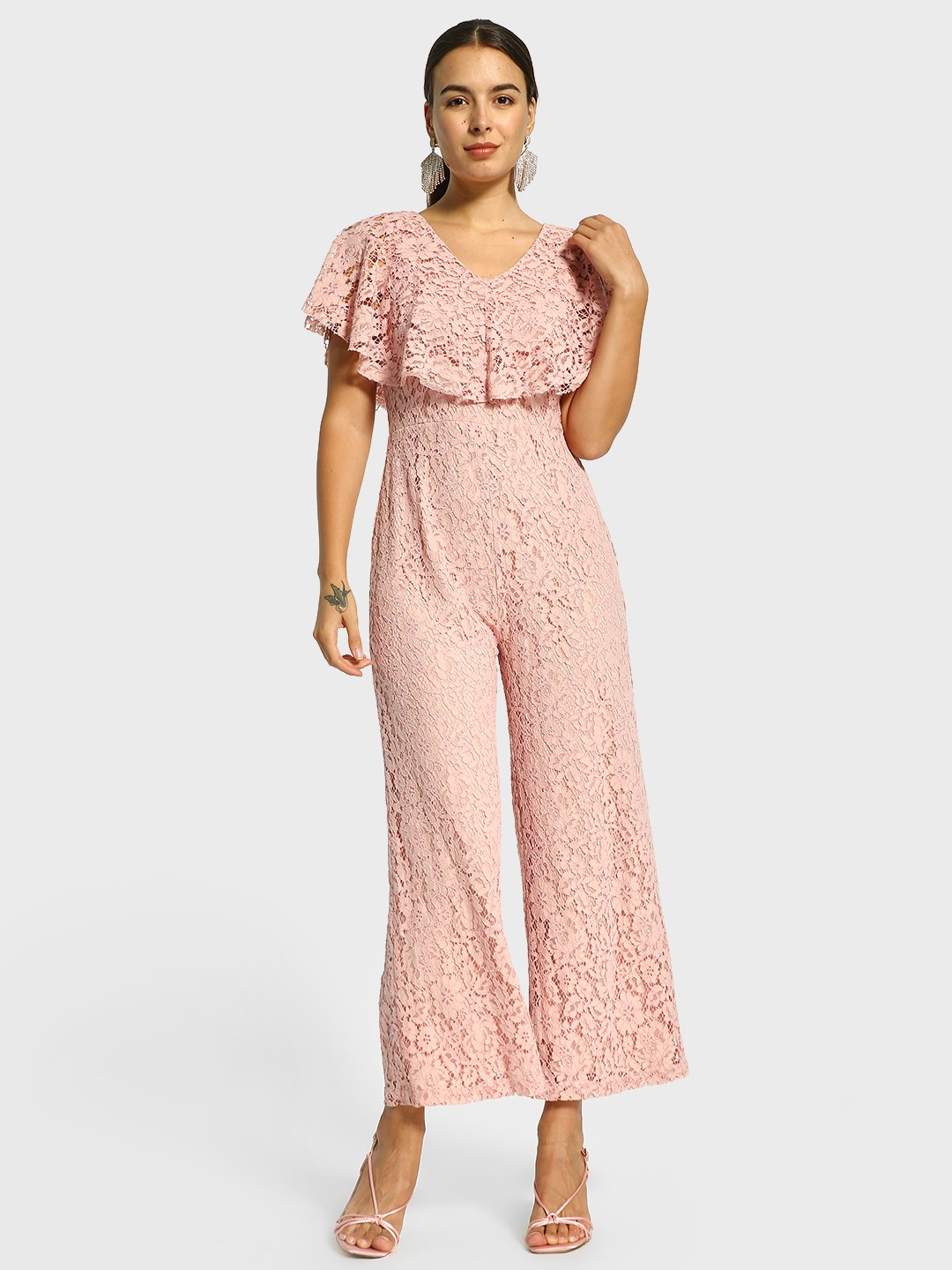 Cover Story Pink Floral Lace Frill Jumpsuit 1
