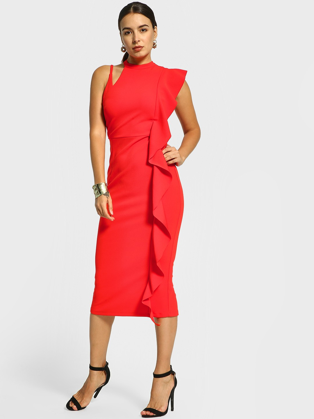 Cover Story Red Cut-Out Ruffled Midi Dress 1
