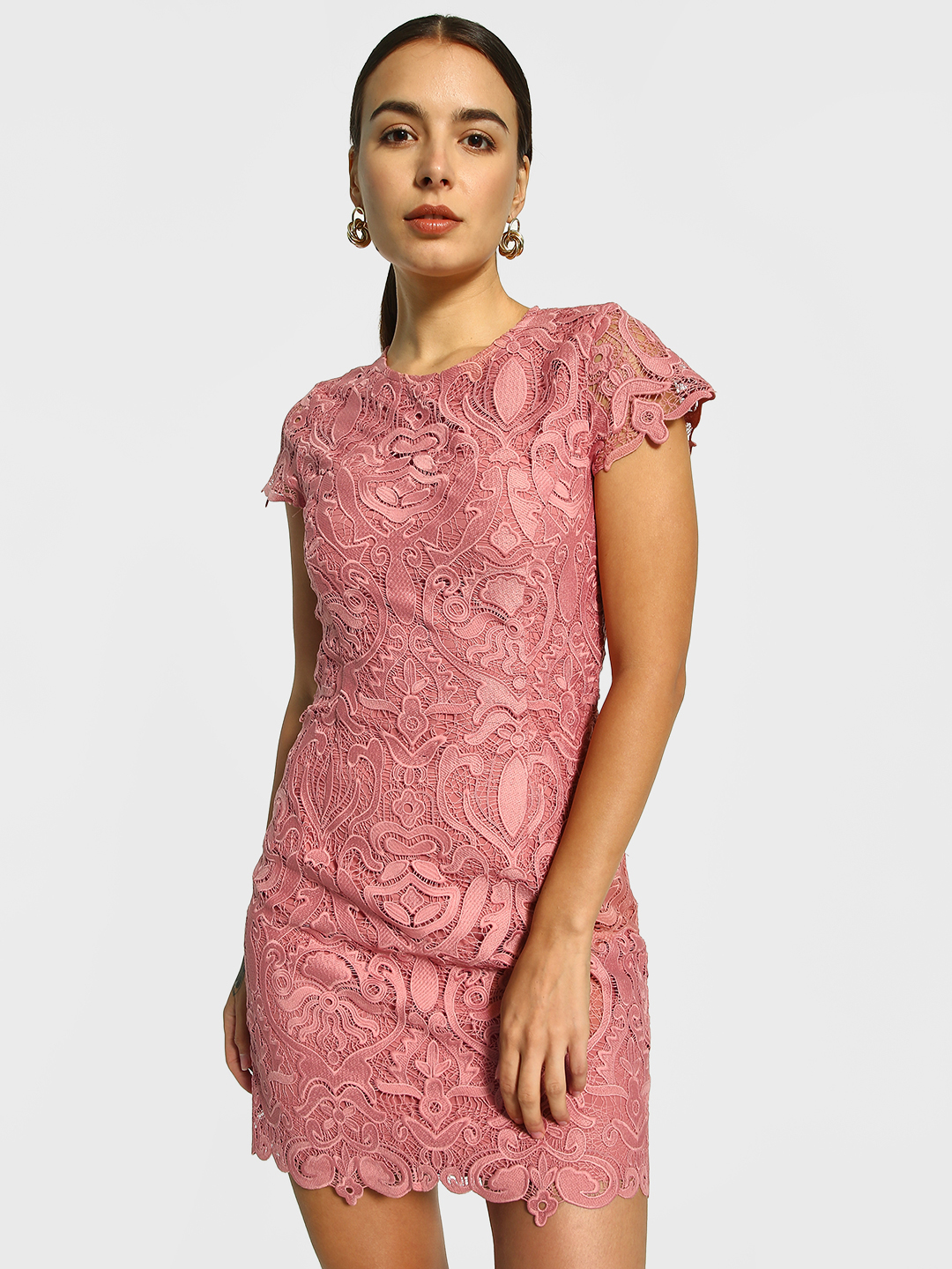 Cover Story Pink Crochet Lace Bodycon Dress 1