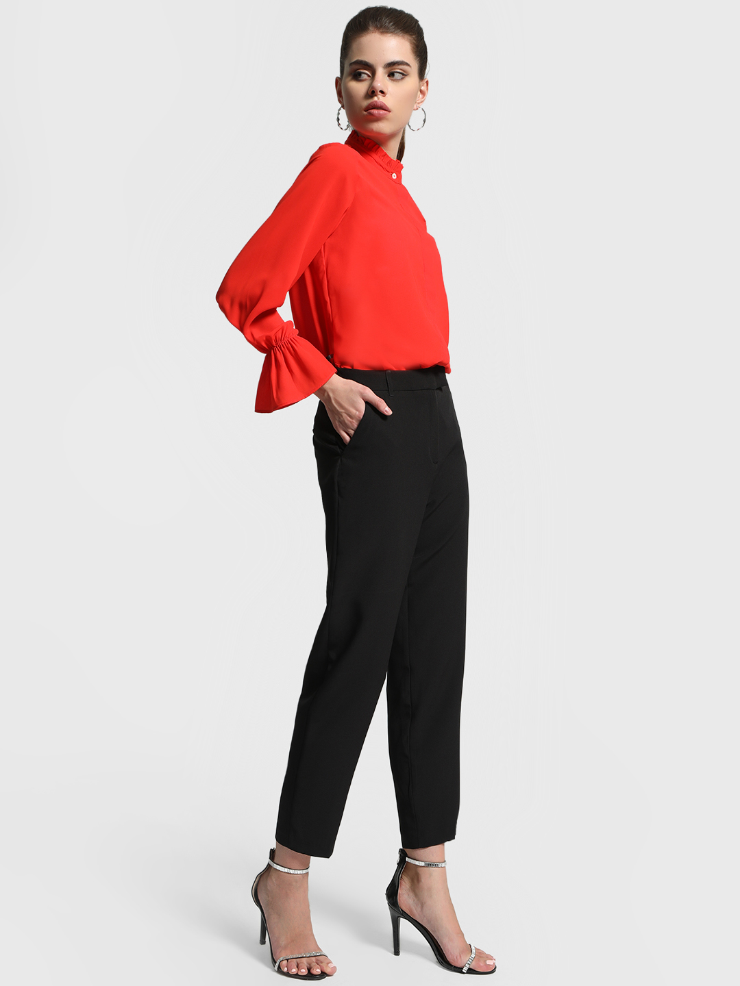 Cover Story Black Basic Tapered Fit Trousers 1