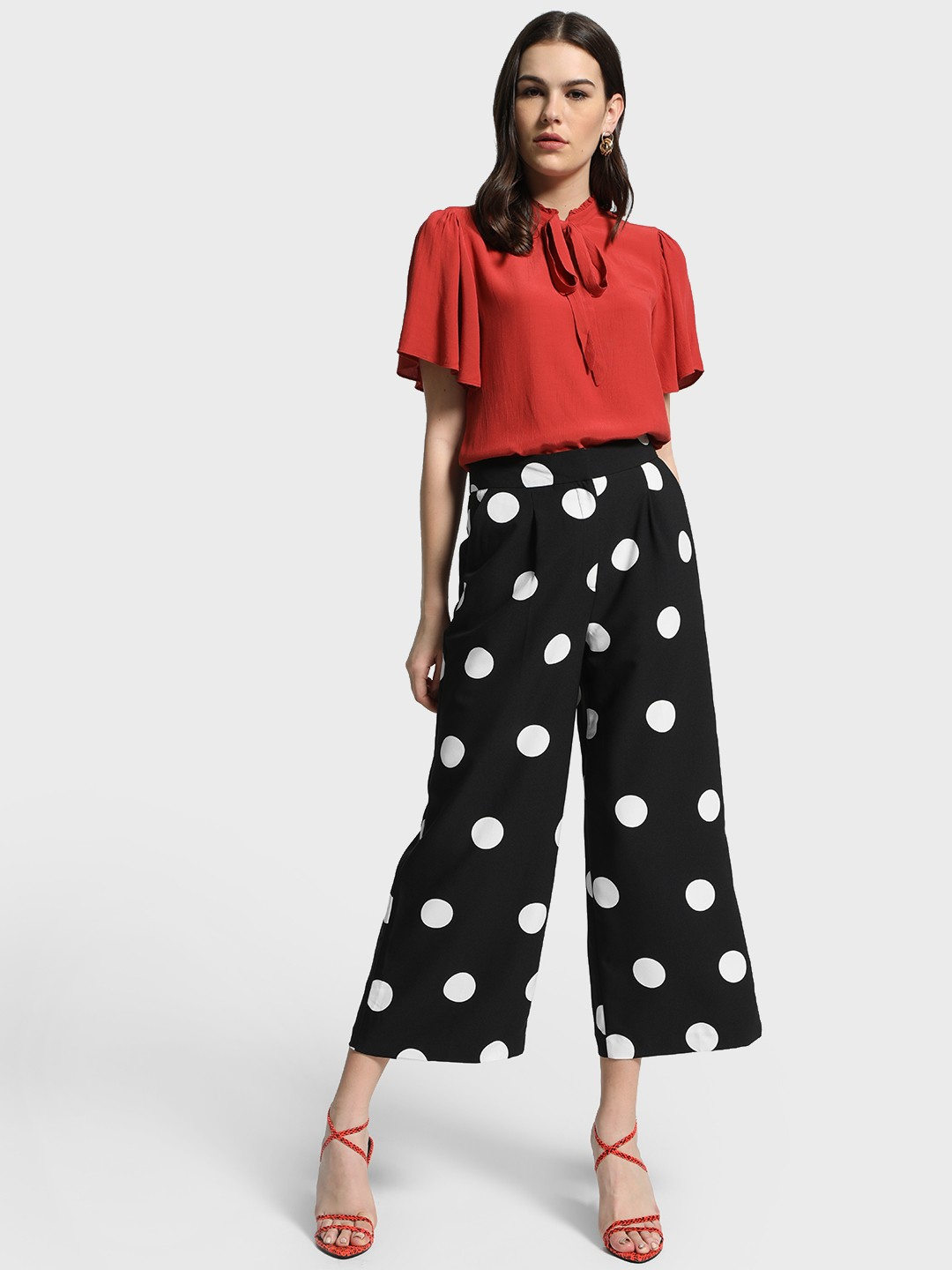Cover Story Black Polka Dot Print Flared Trousers 1