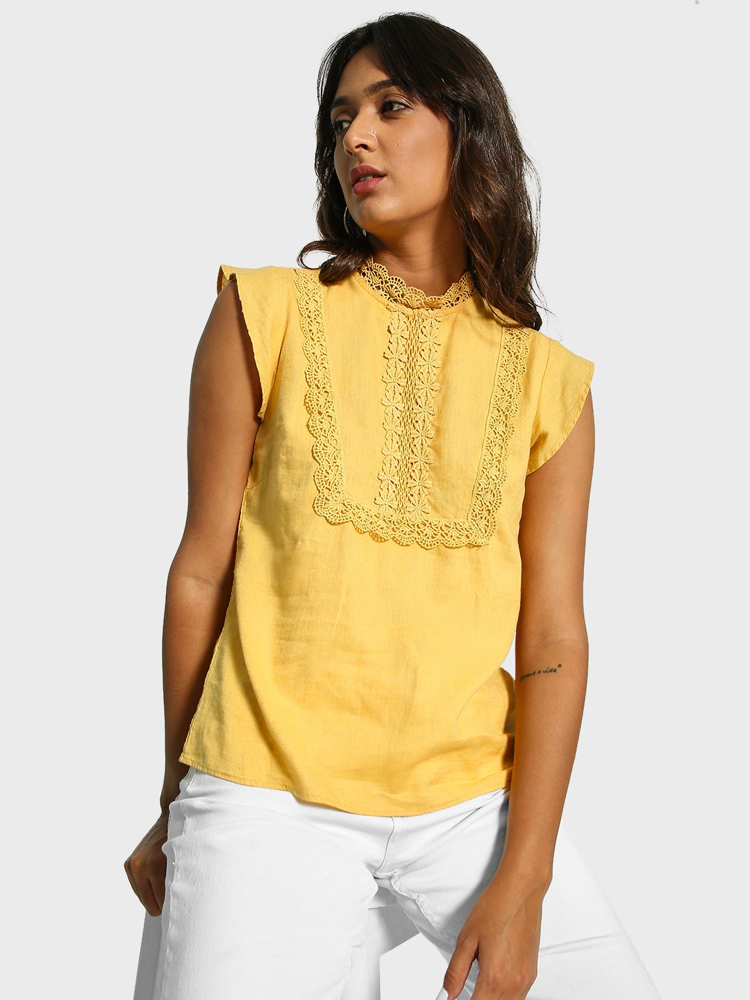 Cover Story Yellow Broderie Lace Yoke Blouse 1
