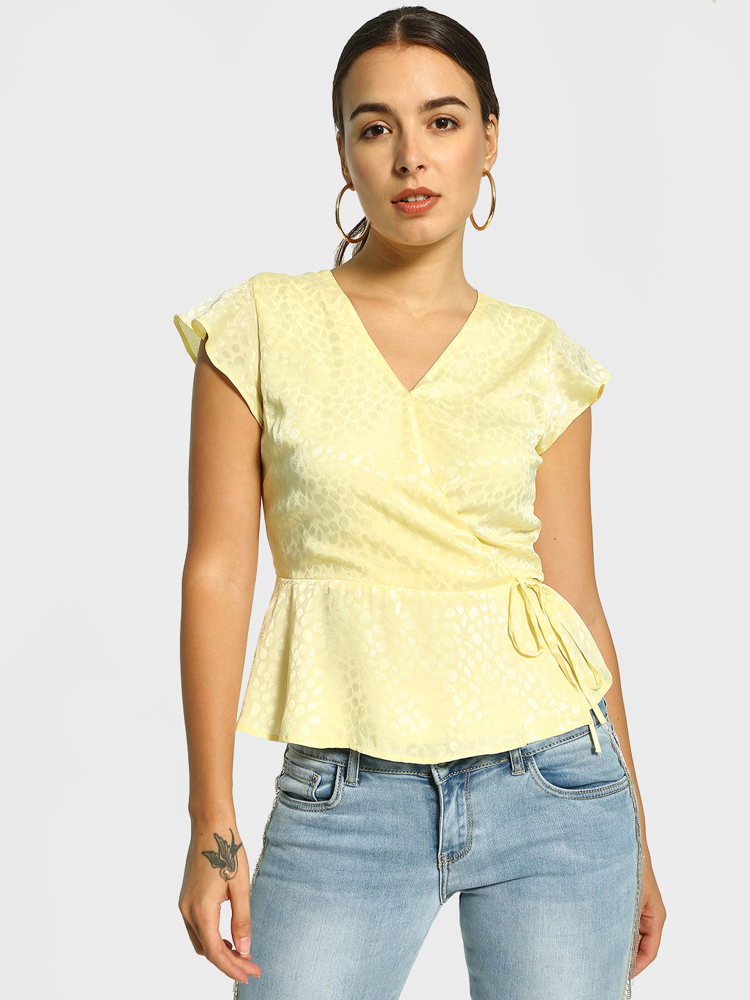 Cover Story Yellow Printed Satin Wrap Blouse 1