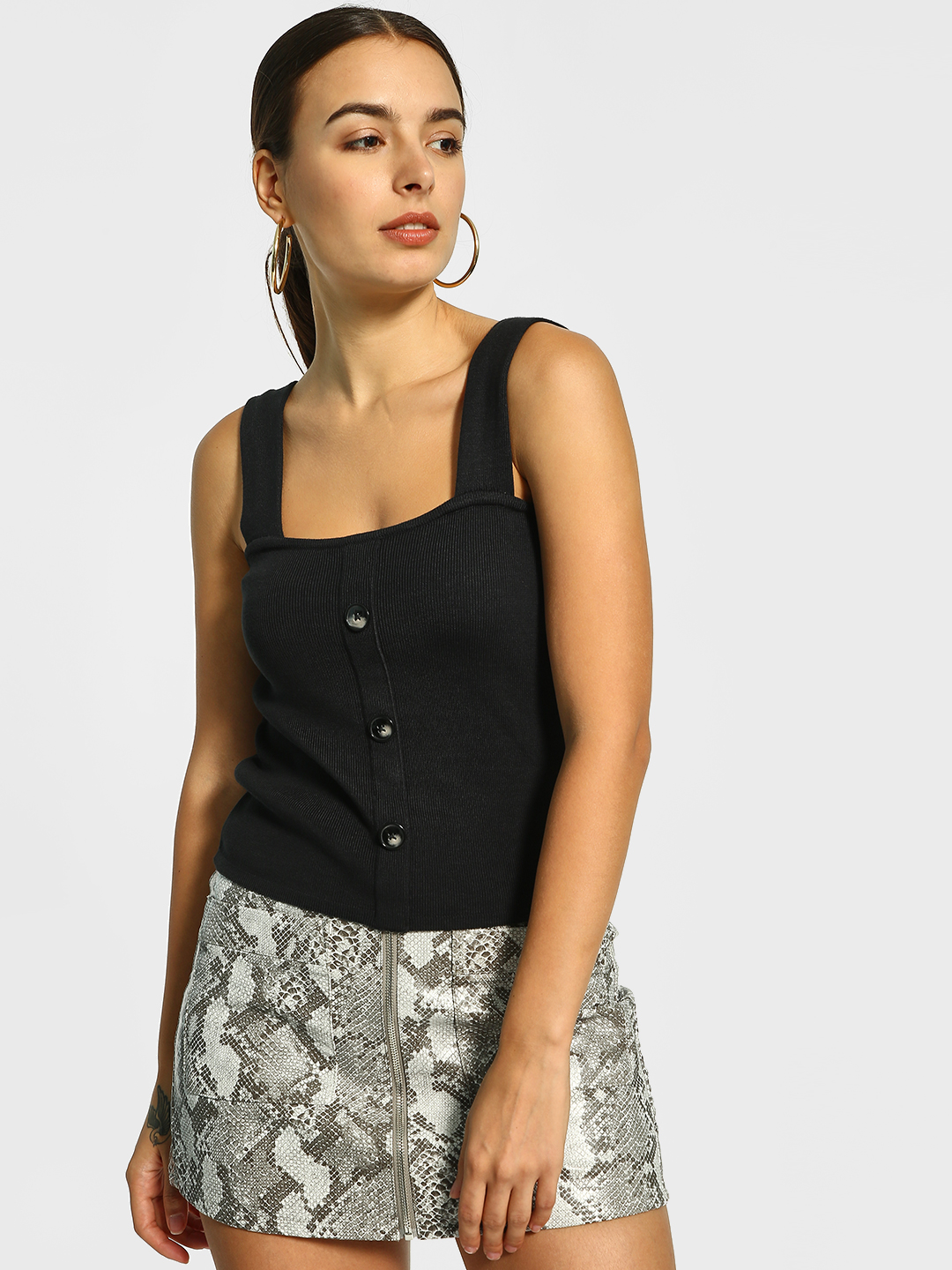 Cover Story Black Front Button Ribbed Cami Top 1