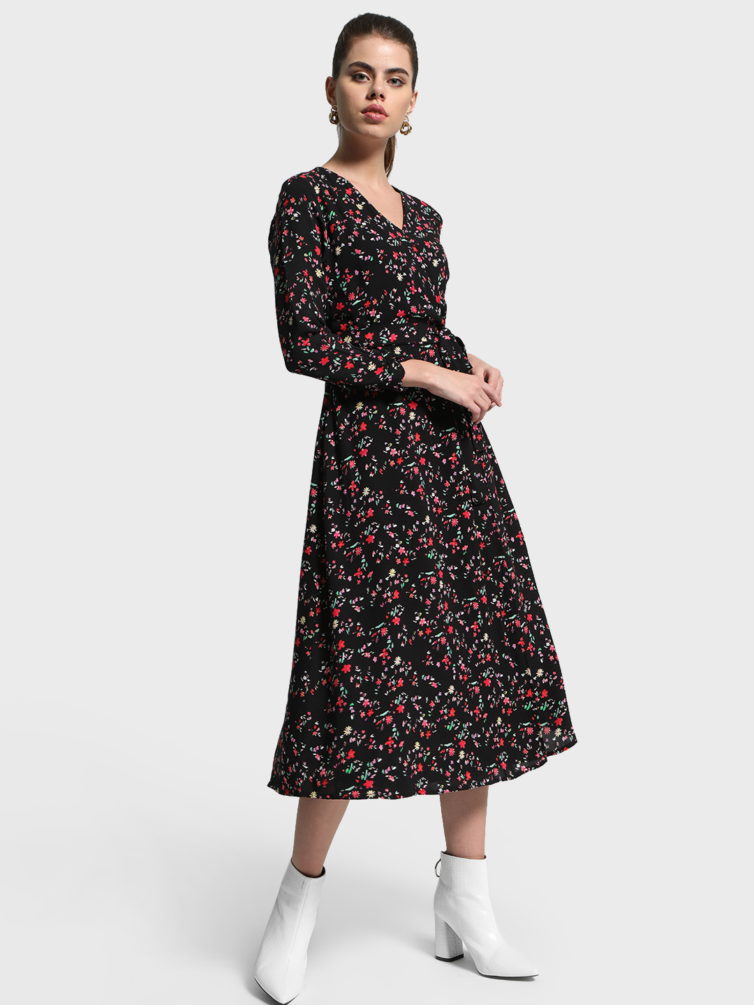 Cover Story Multi Floral Print Tie-Knot Midi Dress 1