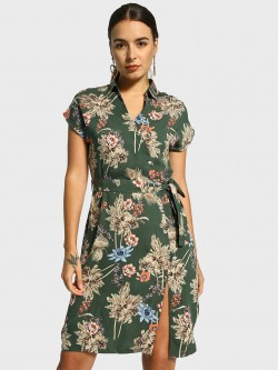 Cover Story Floral Print Tie-Up Shirt Dress