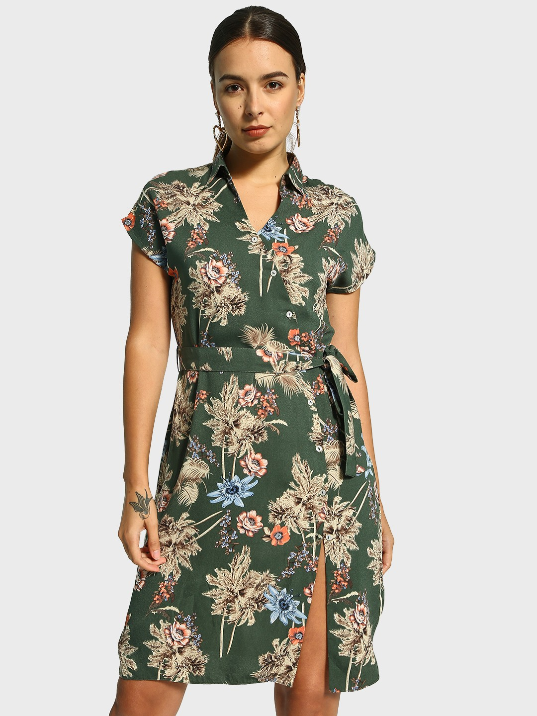 Cover Story Multi Floral Print Tie-Up Shirt Dress 1