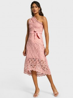 Cover Story One Shoulder Lace Midi Dress