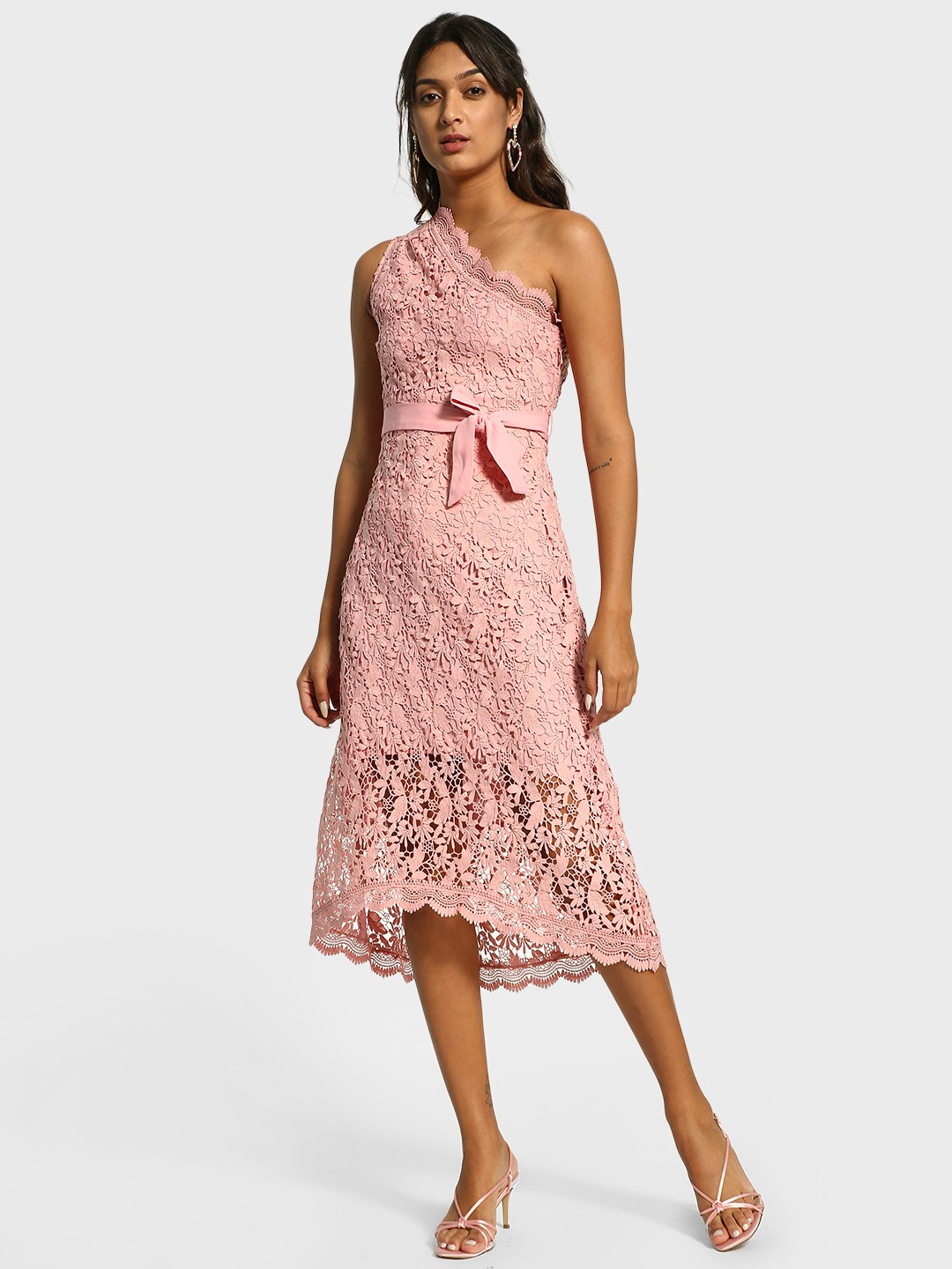 Cover Story Pink One Shoulder Lace Midi Dress 1