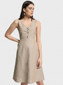 Cover Story Button-Front Sleeveless Skater Dress