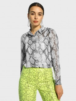 Cover Story Snakeskin Print Sheer Shirt
