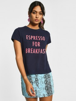 Cover Story Espresso For Breakfast Embossed T-Shirt