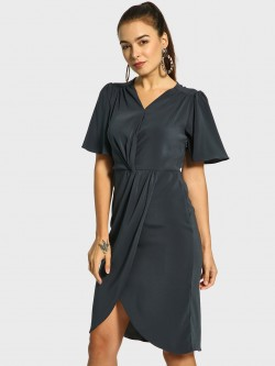 Cover Story Flared Sleeve Overlay Shift Dress