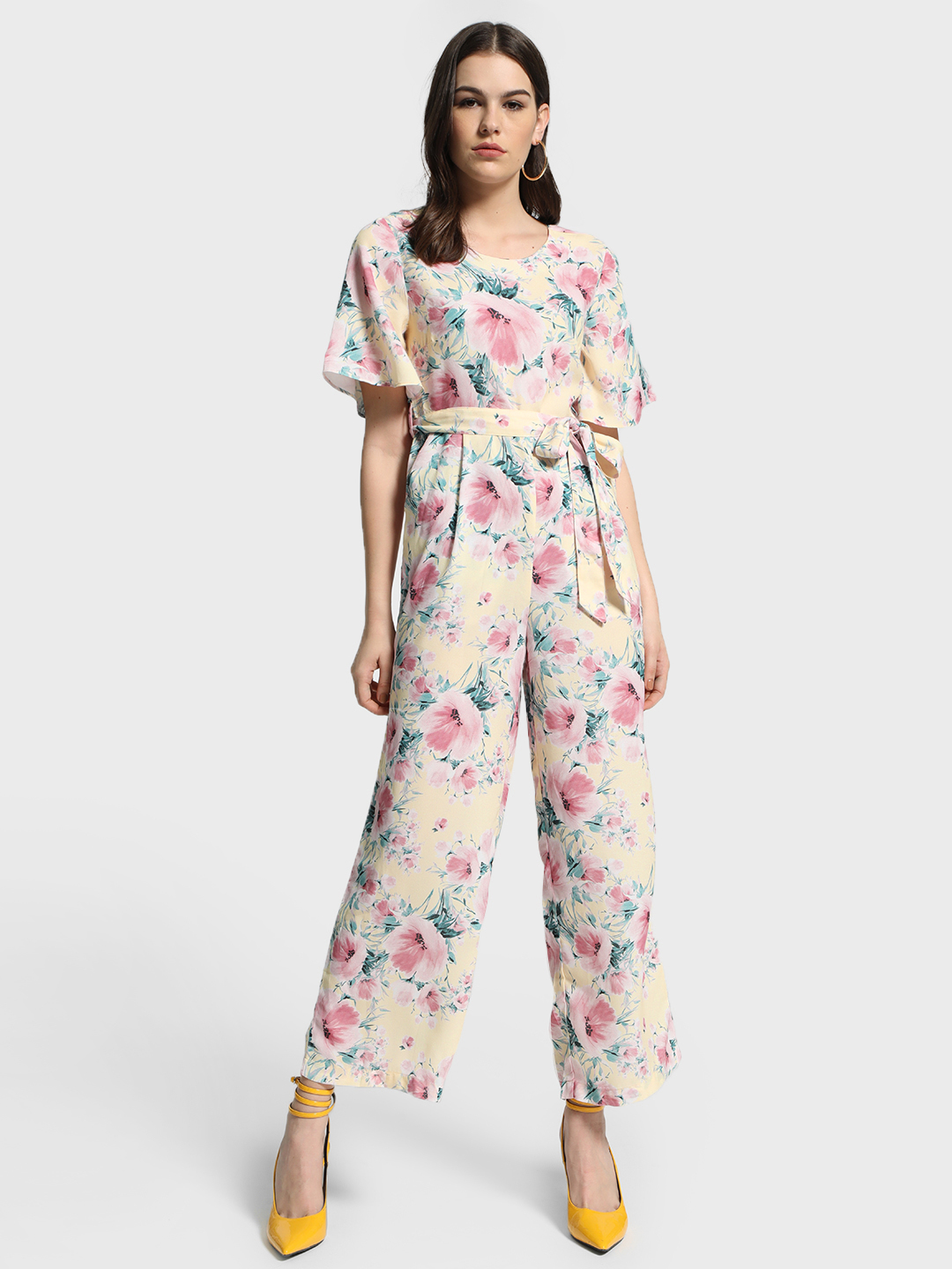 Cover Story Yellow Floral Print Tie-Knot Jumpsuit 1