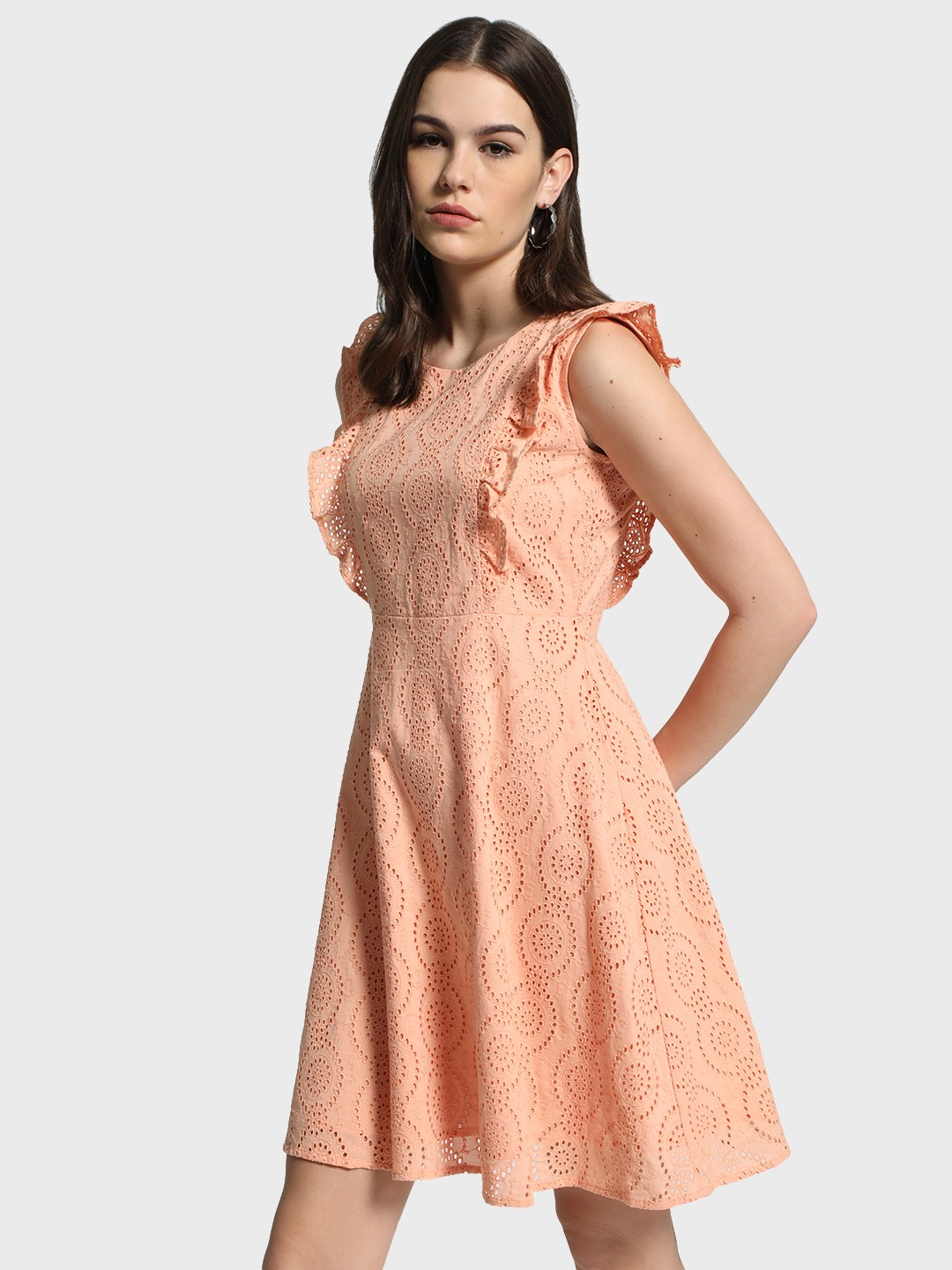 Cover Story Pink Broderie Ruffle Detail Skater Dress 1