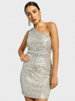 Cover Story One Shoulder Sequin Bodycon Dress