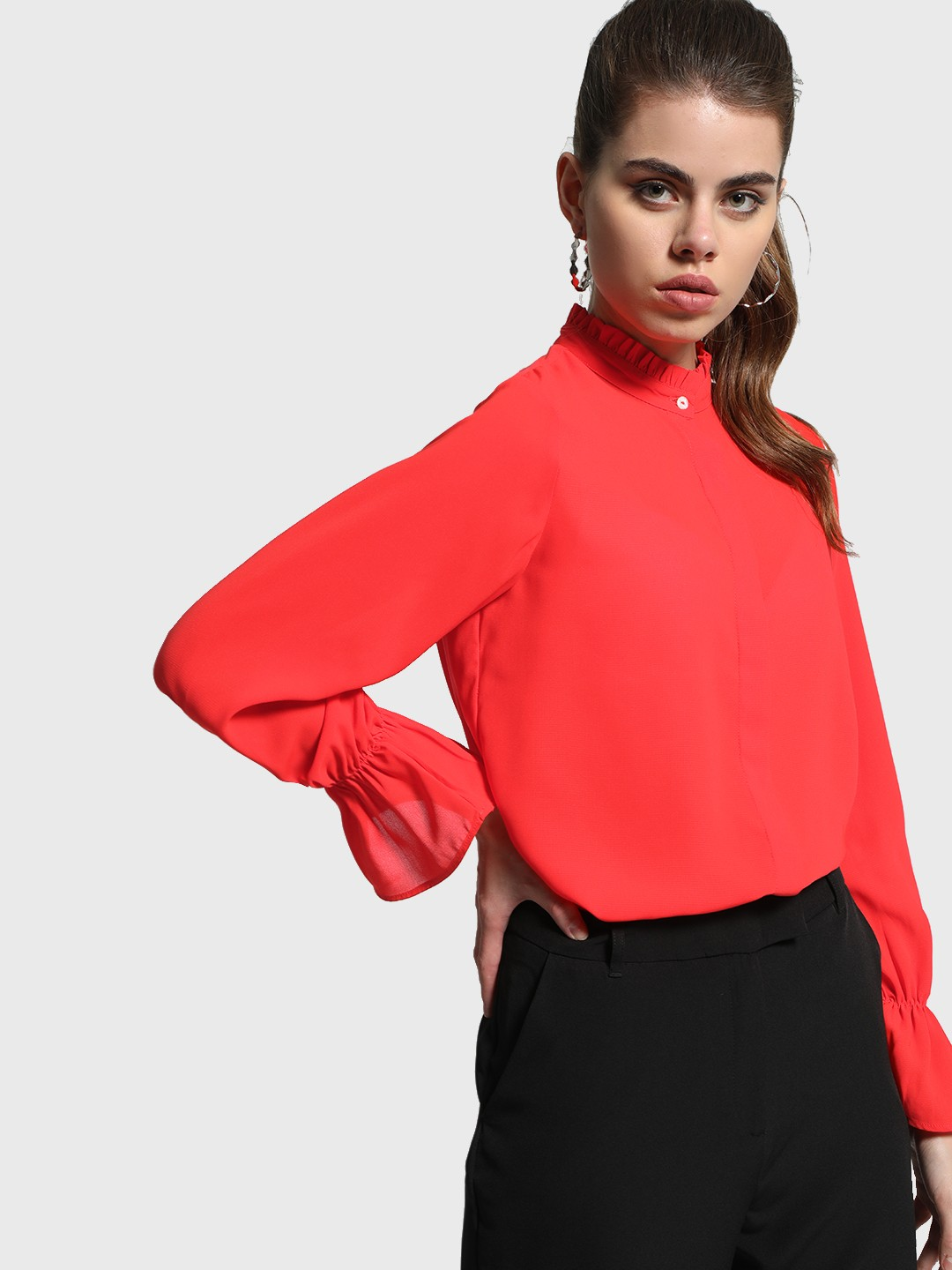 Cover Story Red Ruffled Neck Bell Sleeve Shirt 1