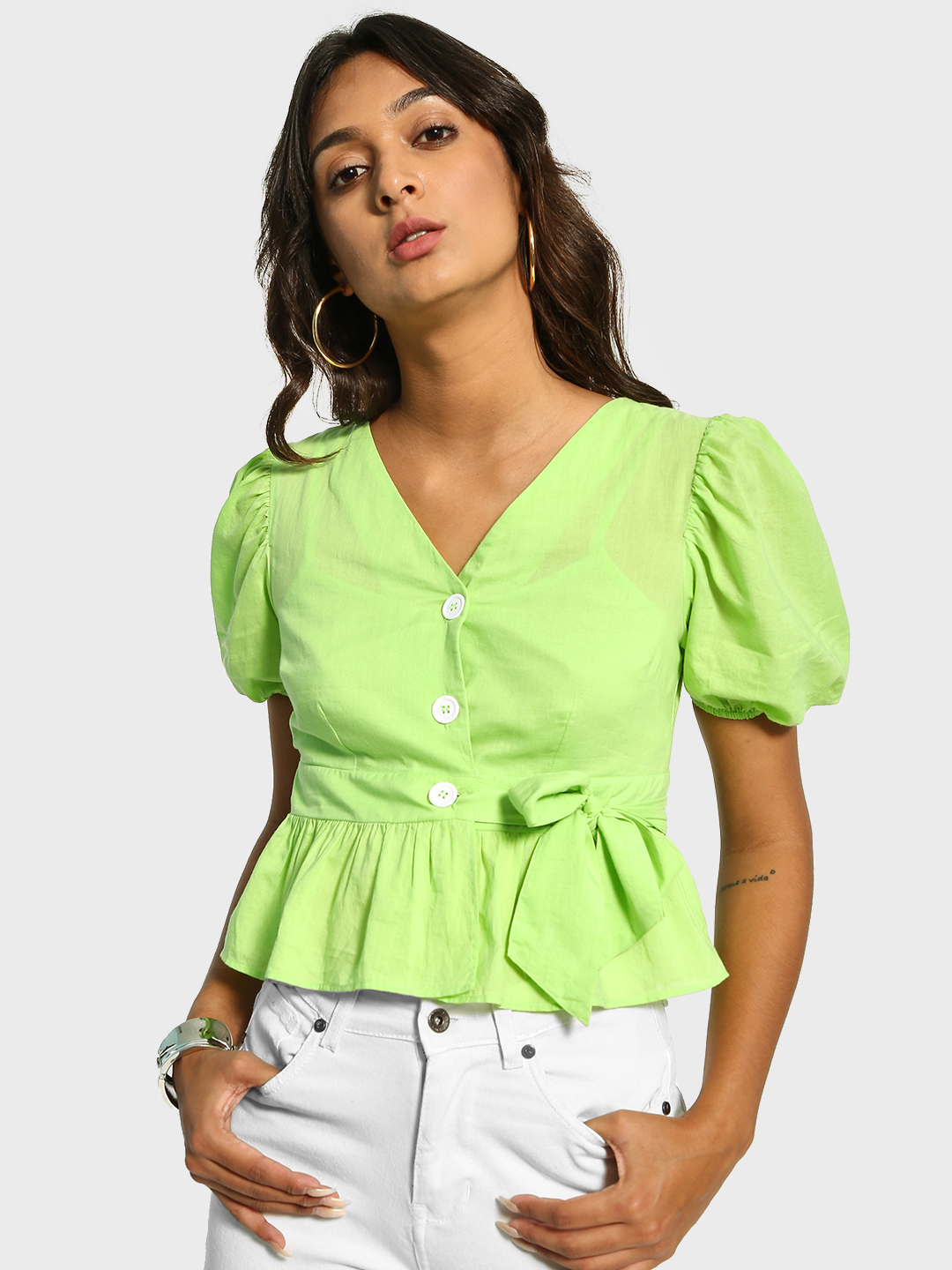 Cover Story Green Button-Front Belted Peplum Top 1