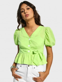 Cover Story Button-Front Belted Peplum Top