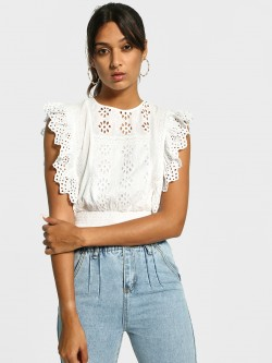 Cover Story Broderie Detail Smocked Crop Top