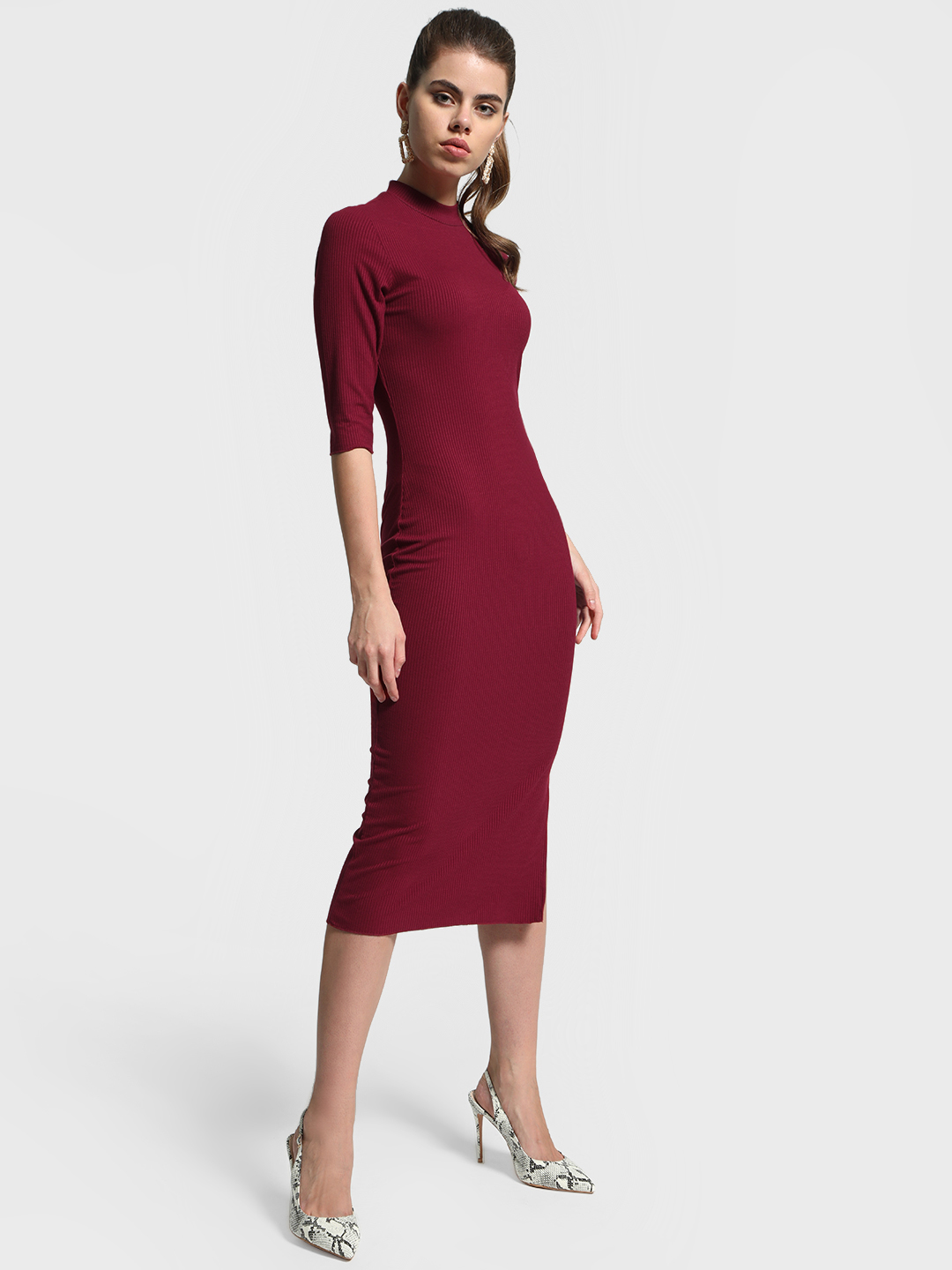 Cover Story Maroon Slit Hem Ribbed Bodycon Dress 1
