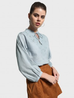 Cover Story Broderie Yoke Tie-Up Blouse
