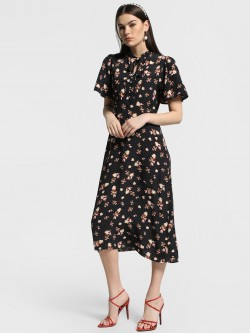 Cover Story Floral Dot Print Midi Dress