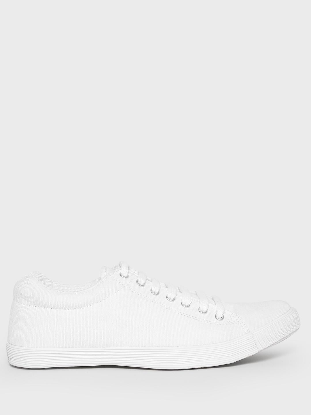 Buy KOOVS White Lace-Up Gusset Sneakers