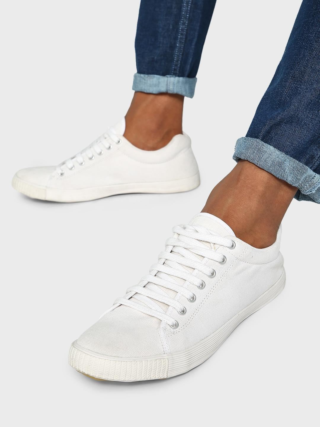 KOOVS White Lace-Up Gusset Sneakers 1