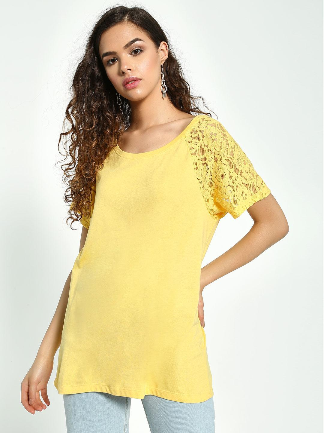 Vero Moda Yellow Floral Lace Short Sleeve T-Shirt 1