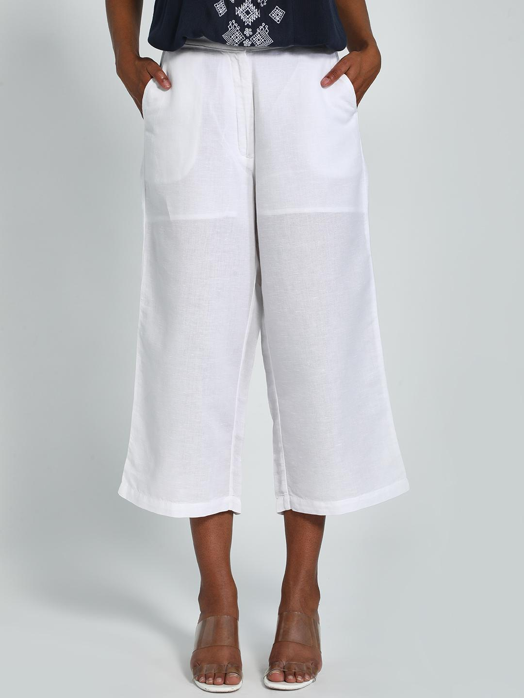 AND White Basic Linen Culottes 1