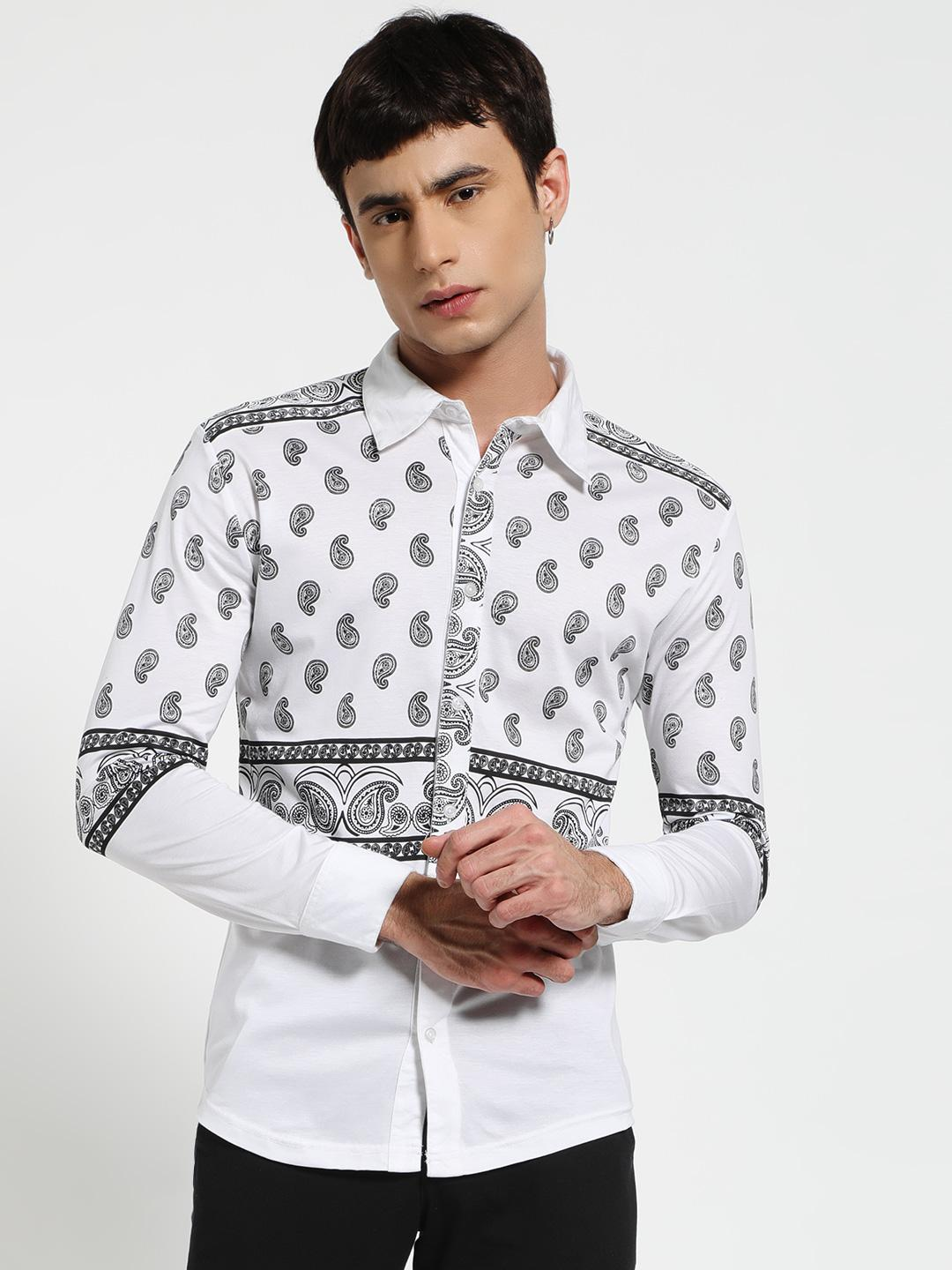 Fighting Fame White Paisley Print Jersey Shirt 1