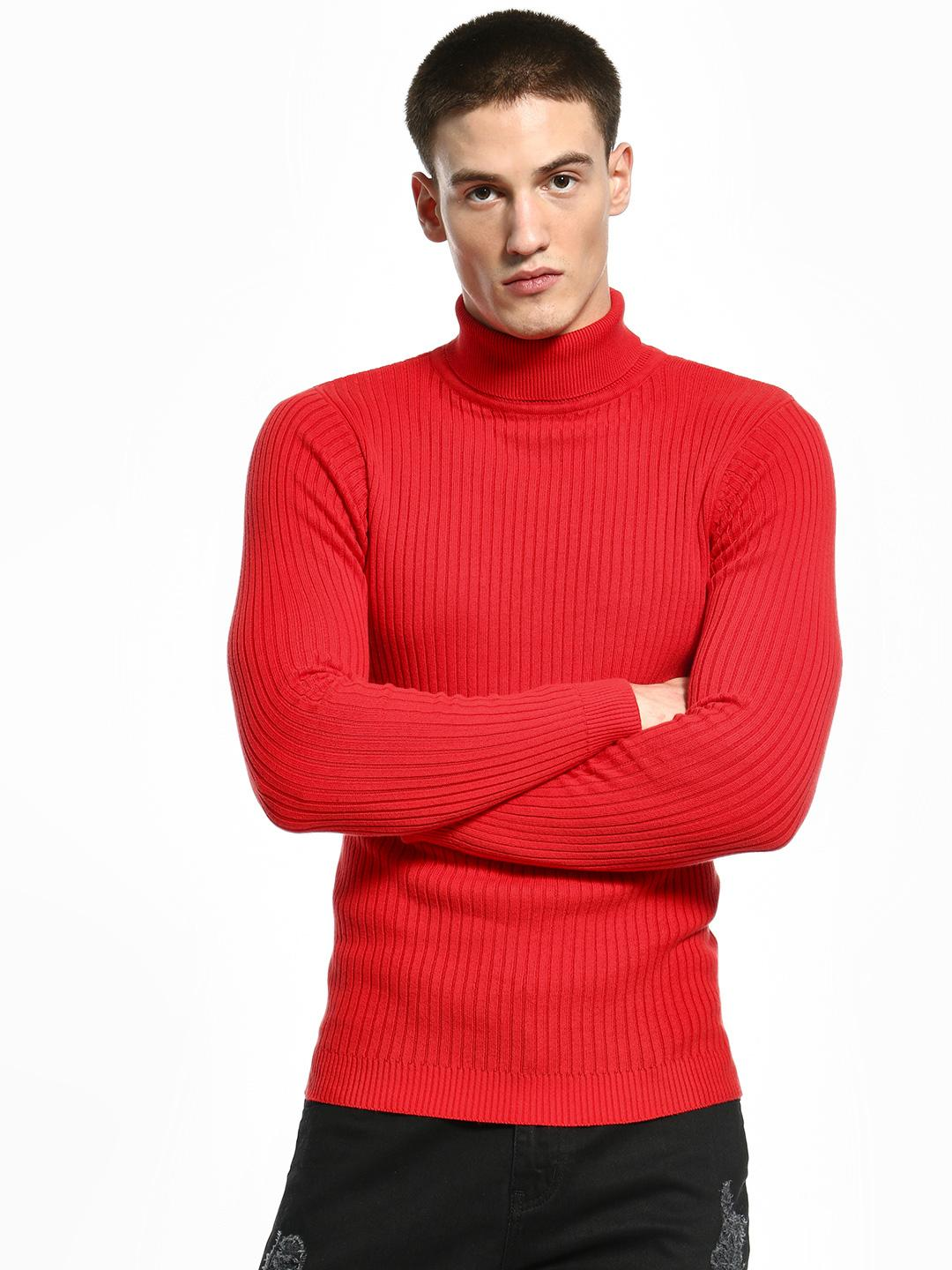 KOOVS Red Ribbed Turtle Neck Pullover 1