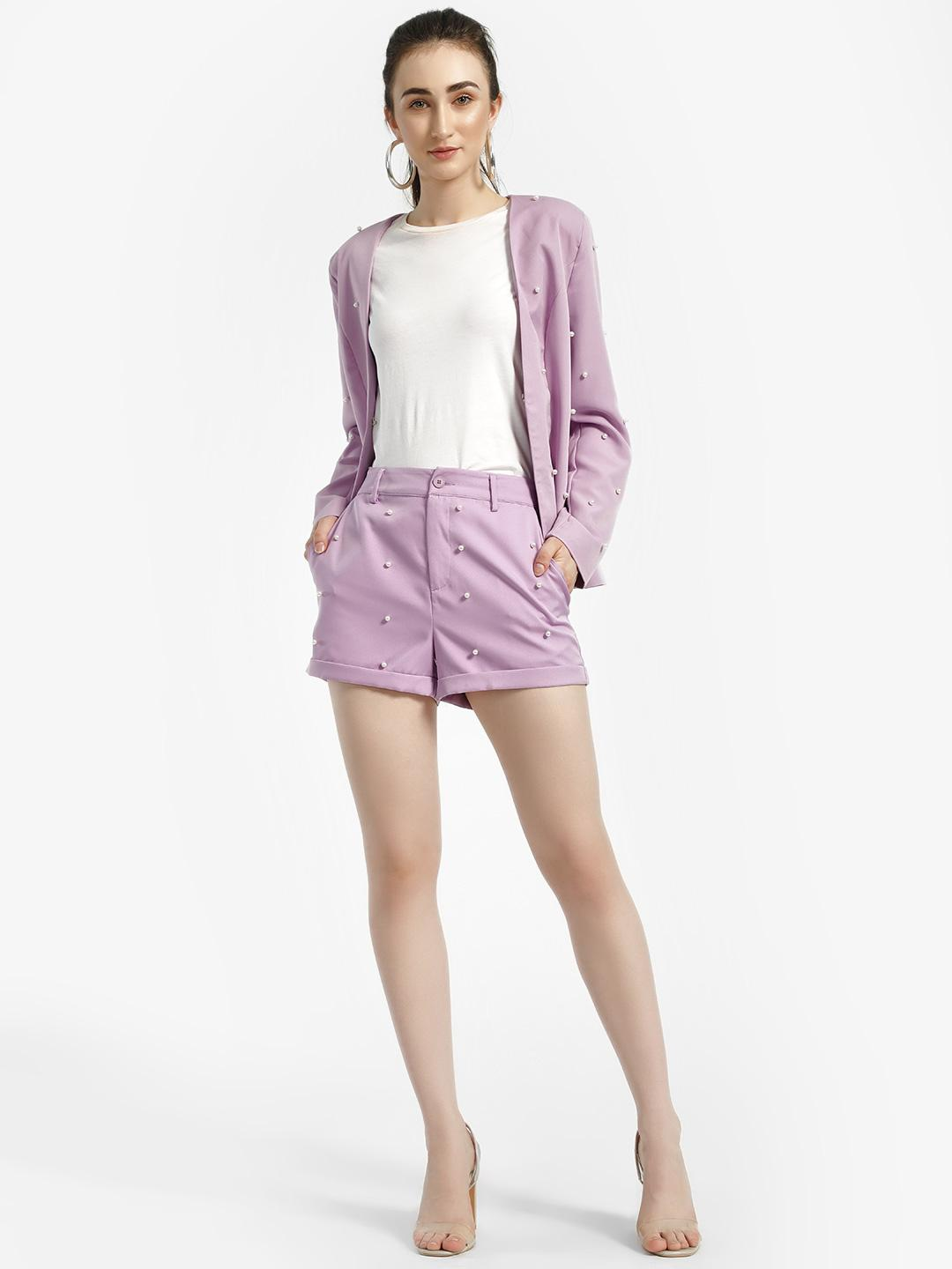 Missi Clothing Purple High Waist Pearl Embellished Shorts 1