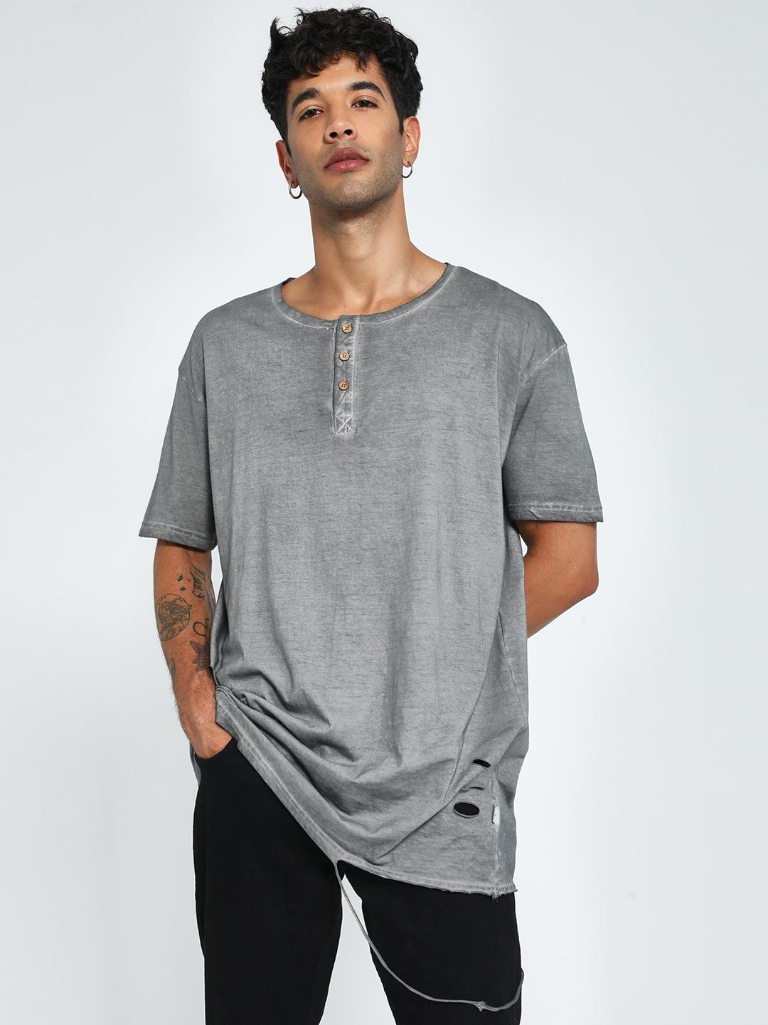 Soulstar Grey Distressed & Washed Henley T-Shirt 1