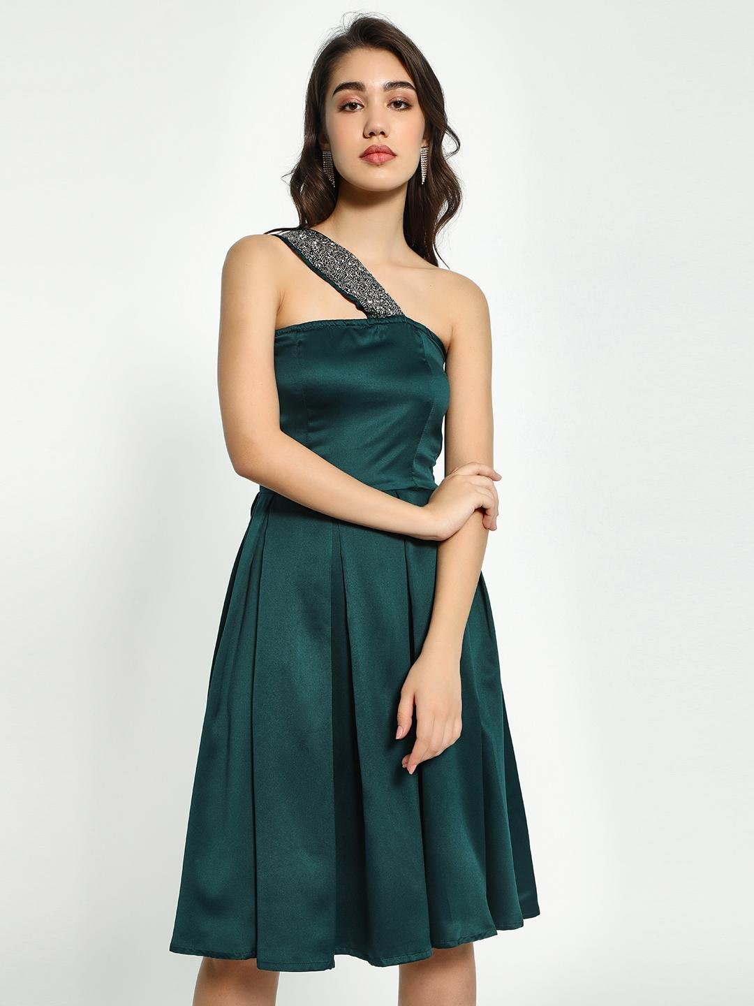 Street9 Green Off-Shoulder Embellished Neck Midi Dress 1