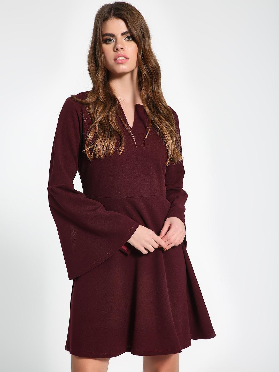 Femella Maroon Flared Sleeve Shift Dress 1