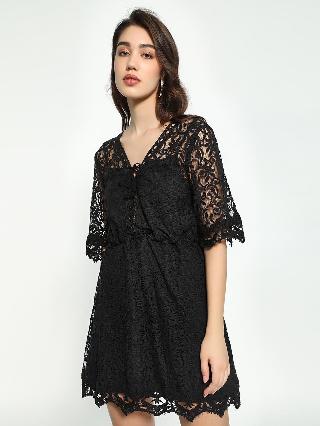KOOVS Black Crochet Lace Mesh Skater Dress 1