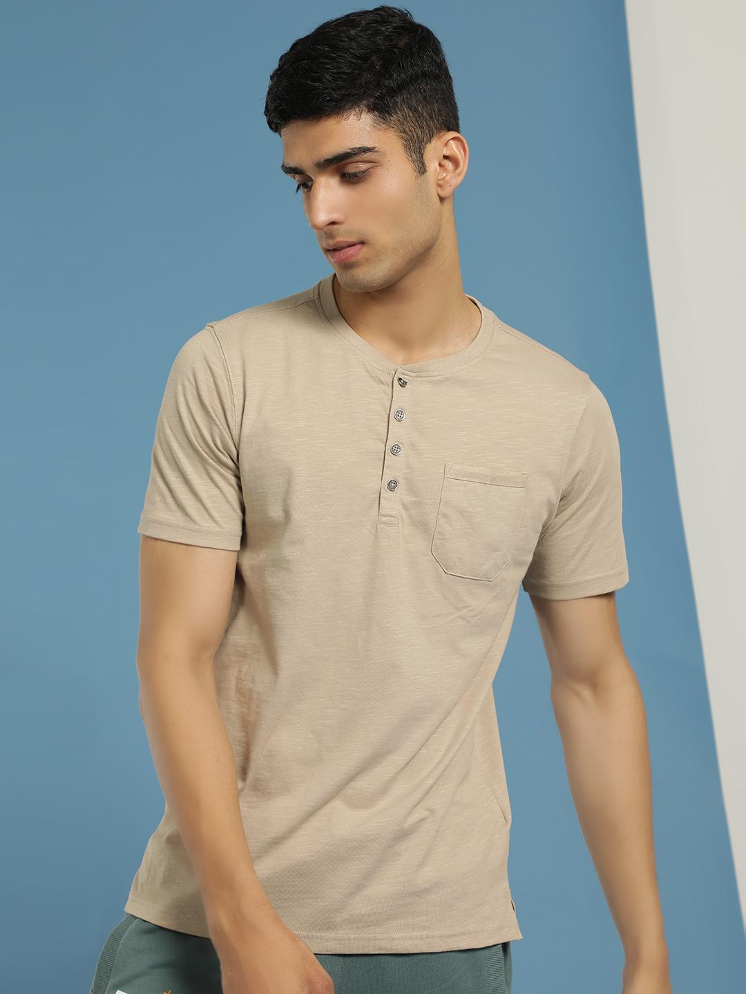 Buffalo Beige Basic Henley Neck T-Shirt 1