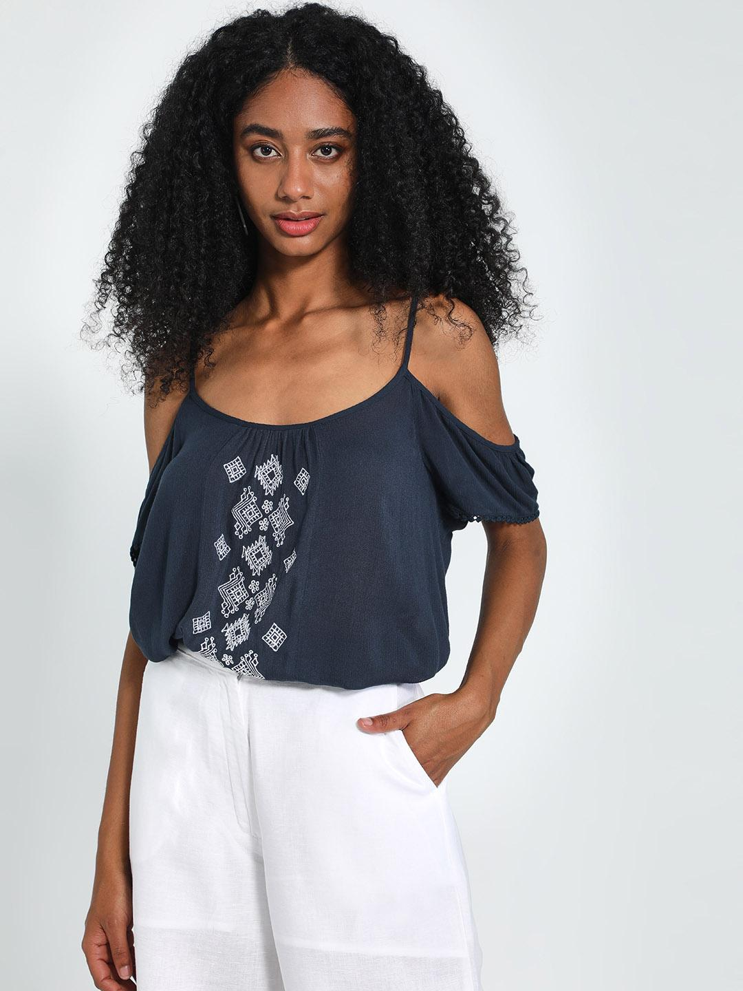 Blue Sequin Navy Embroidered Cold Shoulder Top 1
