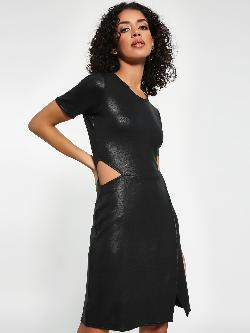 ISU Faux Leather Shift Dress