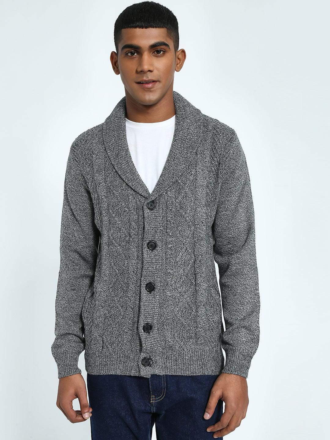 KOOVS Grey Cable Knit Shawl Collar Cardigan 1