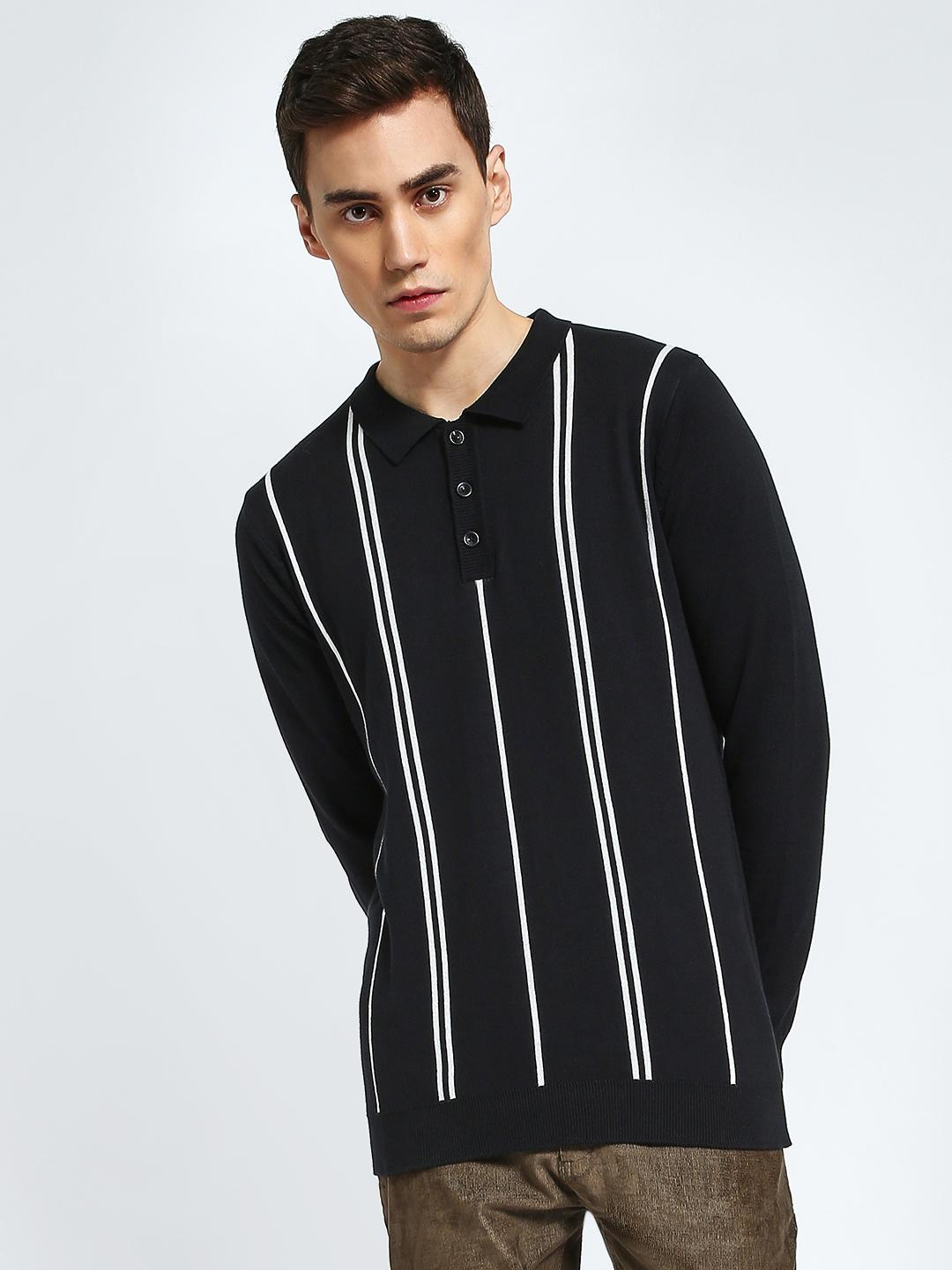 KOOVS Black Vertical Stripe Knitted Polo Shirt 1