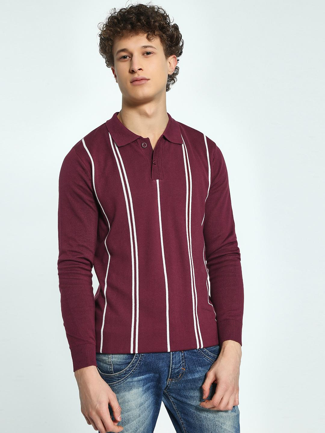 KOOVS Maroon Vertical Stripe Knitted Polo Shirt 1