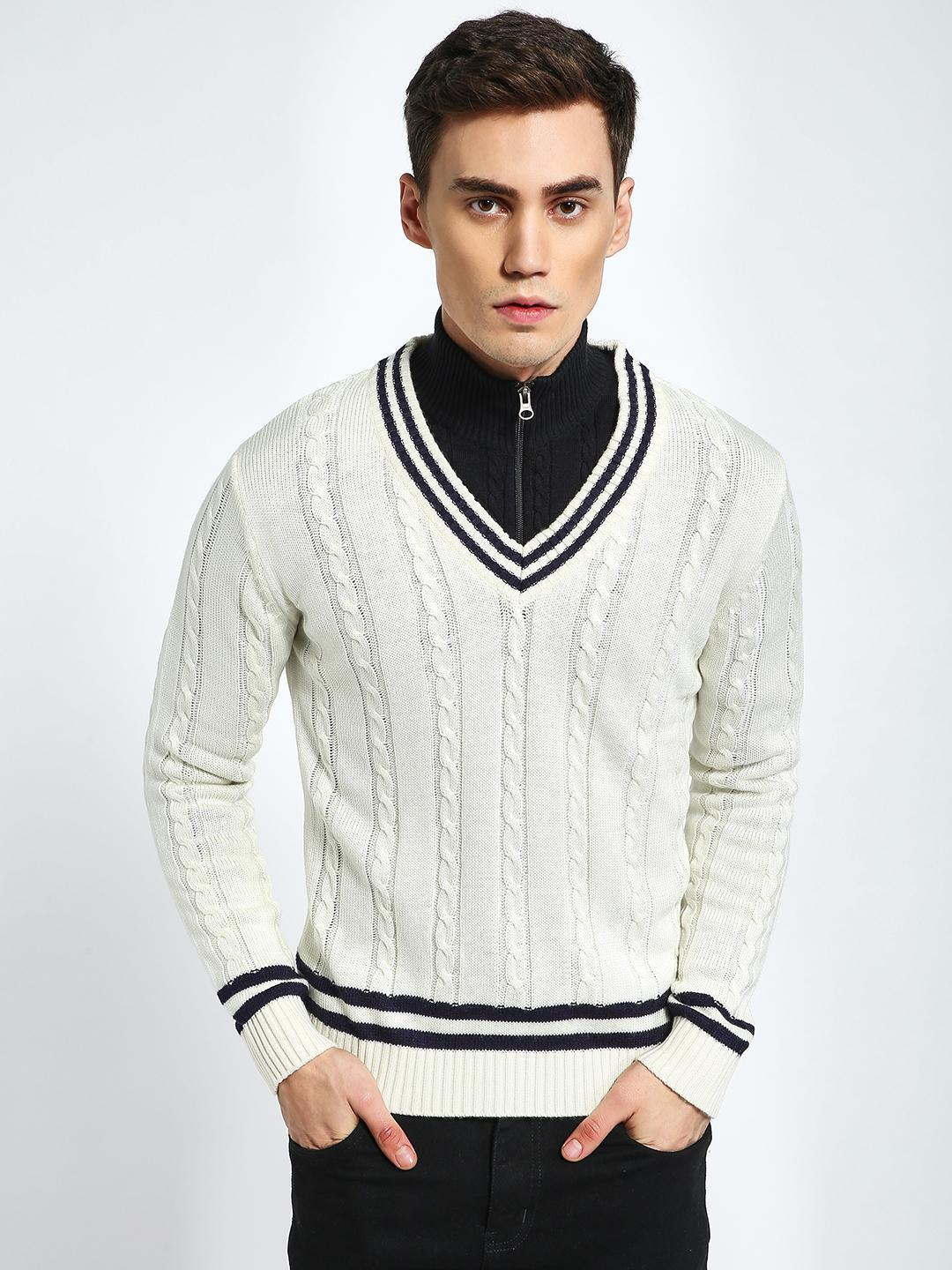 KOOVS Off White Cable Knit Varsity Sweater 1