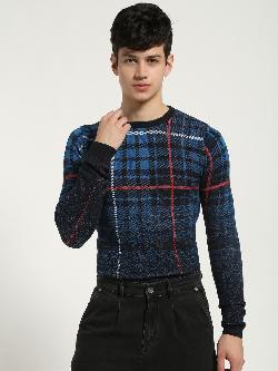 KOOVS Check Gradient Knitted Pullover