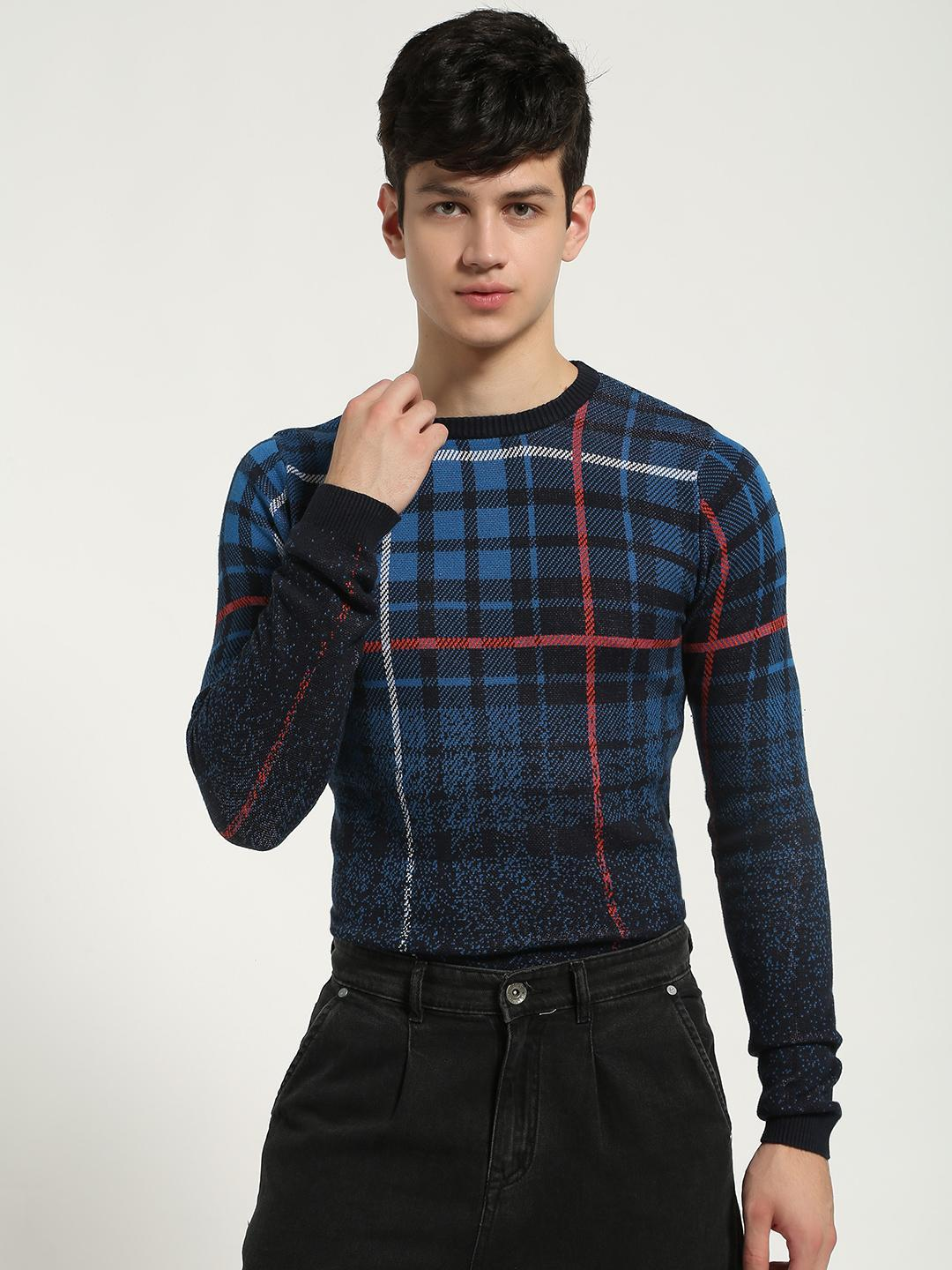 KOOVS Multi Check Gradient Knitted Pullover 1