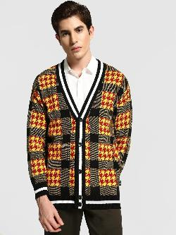 KOOVS Houndstooth Check Block Cardigan