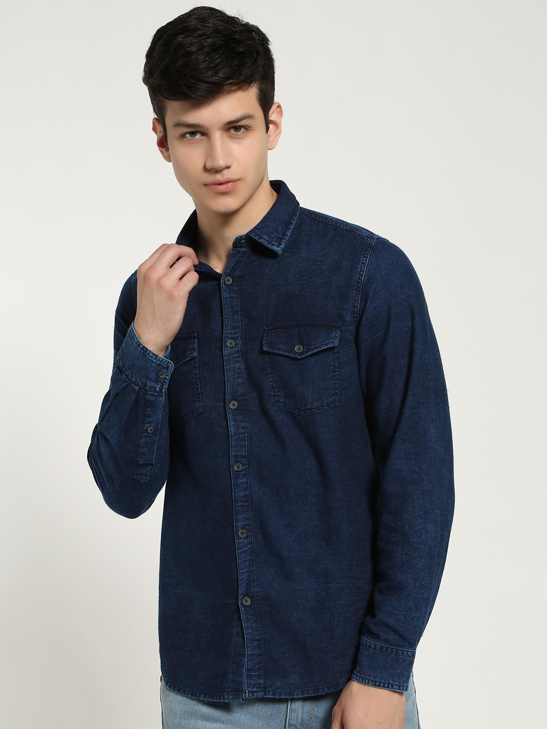 Lee Cooper Blue Twin Pocket Denim Shirt 1