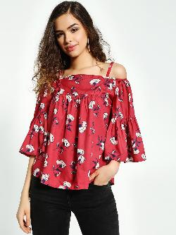 MIWAY Floral Print Cold-Shoulder Blouse
